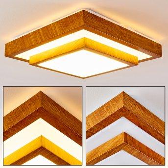 Sora Wood Lampa Sufitowa LED Biały, Jasne drewno, 1-punktowy