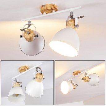 Banjul Lampa Sufitowa Biały, Jasne drewno, 2-punktowe