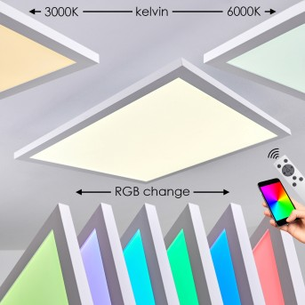 Bankura Lampa Sufitowa LED Biały, 1-punktowy, Zdalne sterowanie, Zmieniacz kolorów