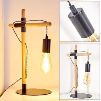 Okseoer Lampa stołowa Czarny, Jasne drewno, 1-punktowy