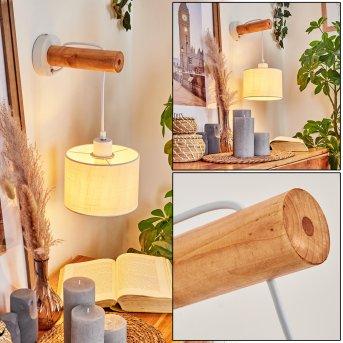 Geelong Lampa ścienna Biały, Jasne drewno, 1-punktowy