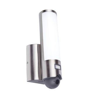 Zewnętrzny kinkiet Lutec ELARA CAM LED Stal nierdzewna, 1-punktowy, Czujnik ruchu