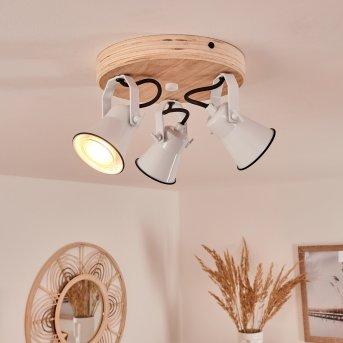 Skodsbol Lampa Sufitowa Biały, Jasne drewno, 3-punktowe