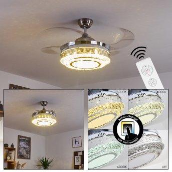 Bendigo wentylator sufitowy LED Nikiel matowy, Przezroczysty, 1-punktowy