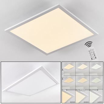 Salmi Lampa Sufitowa LED Aluminium, Biały, 1-punktowy, Zdalne sterowanie