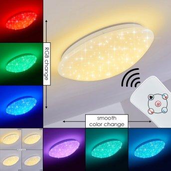 Brighton Star Lampa Sufitowa LED Biały, 1-punktowy, Zdalne sterowanie, Zmieniacz kolorów