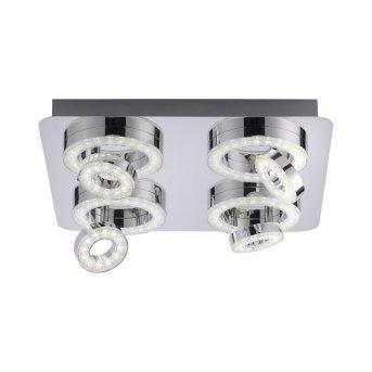 Leuchten Direkt Ls-TIM Lampa Sufitowa LED Chrom, 4-punktowe, Zdalne sterowanie, Zmieniacz kolorów