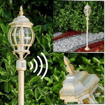 Lentua Zewnętrzna Lampa Stojąca Biały, Złoty, 1-punktowy, Czujnik ruchu