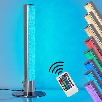 Flaut Lampa stołowa LED Chrom, 1-punktowy, Zdalne sterowanie, Zmieniacz kolorów