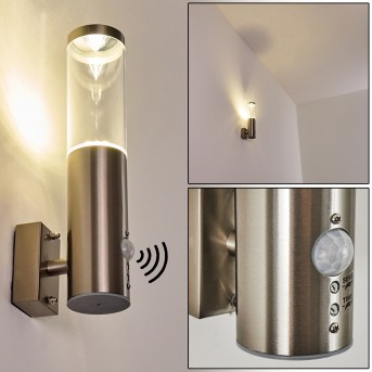 Noreaz Zewnętrzny kinkiet LED Stal nierdzewna, 1-punktowy, Czujnik ruchu