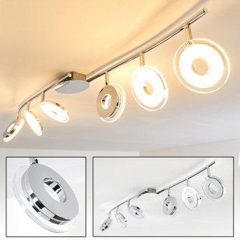 Prag lampy sufitowe listwy LED Chrom, 6-punktowe