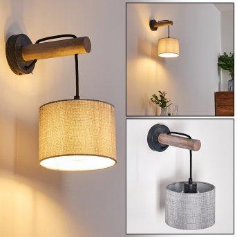 Adelboden Lampa ścienna Czarny, Ciemne drewno, 1-punktowy