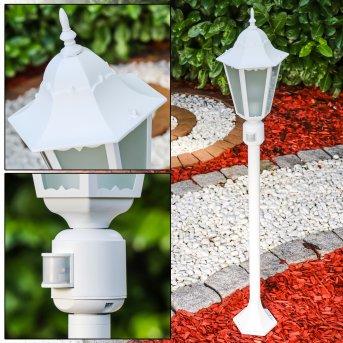 Hongkong Frost Zewnętrzna Lampa Stojąca Biały, 1-punktowy, Czujnik ruchu