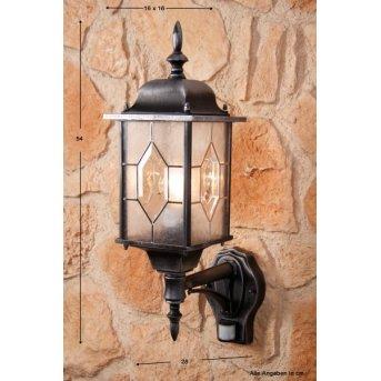Amapala lampa ścienna Czarny, 1-punktowy, Czujnik ruchu
