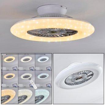 Petrovac wentylator sufitowy LED Chrom, Biały, 1-punktowy, Zdalne sterowanie