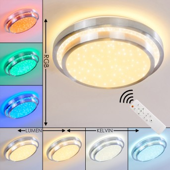 Mirabeau Lampa Sufitowa LED Aluminium, 2-punktowe, Zdalne sterowanie, Zmieniacz kolorów