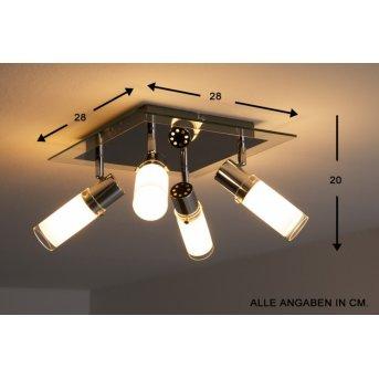 Wofi MARCO lampa sufitowa Chrom, Biały, 4-punktowe