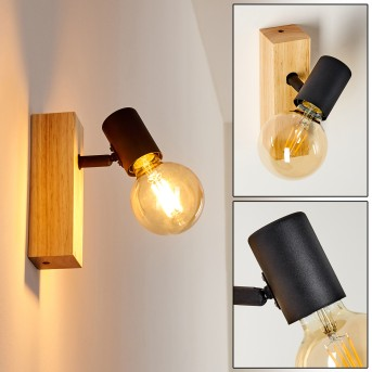 Barbengo Lampa ścienna Czarny, Jasne drewno, 1-punktowy