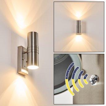 Satava Zewnętrzny kinkiet LED Nikiel matowy, 2-punktowe
