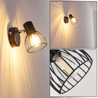Lampa ścienna Bolderslev Chrom, Czarny, 1-punktowy