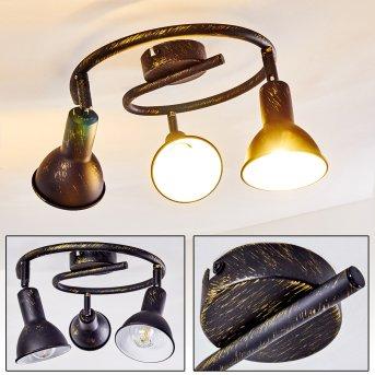 Polmak Lampa Sufitowa Czarno-złoty, 3-punktowe
