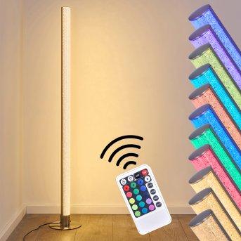 Pipe Lampa Stojąca LED Nikiel matowy, 1-punktowy, Zdalne sterowanie, Zmieniacz kolorów