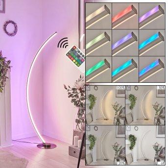 Scar RGB Lampa Stojąca LED Nikiel matowy, 1-punktowy, Zdalne sterowanie, Zmieniacz kolorów