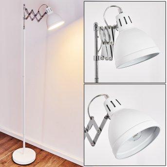 Saxon Lampa Stojąca Chrom, Biały, 1-punktowy