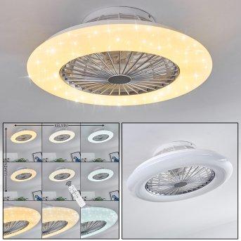 Piraeus wentylator sufitowy LED Biały, Tytan, 1-punktowy, Zdalne sterowanie