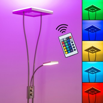 Notigi Lampa stojąca oświetlająca sufit LED Nikiel matowy, 2-punktowe, Zdalne sterowanie, Zmieniacz kolorów