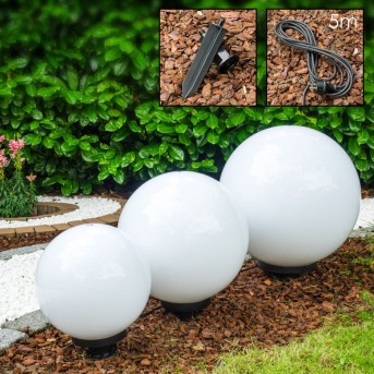 lampy ogrodowe kule 3 szt. Biały, 3-punktowe