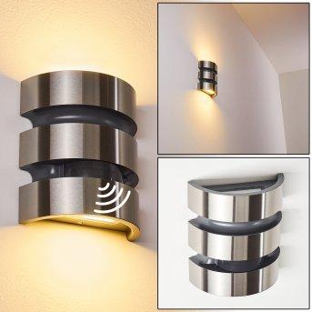 Kolding Zewnętrzny kinkiet LED Czarny, Stal nierdzewna, 1-punktowy, Czujnik ruchu