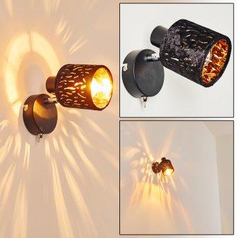 Liared Lampa ścienna Chrom, Czarny, 1-punktowy