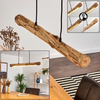 Winterthur Lampa Wisząca LED Czarny, Jasne drewno, 1-punktowy