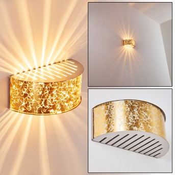 Pesaro Lampa ścienna Nikiel matowy, Złoty, 1-punktowy