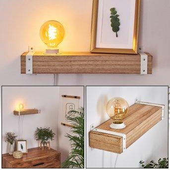 Torrevieja Lampa ścienna Biały, Jasne drewno, 1-punktowy