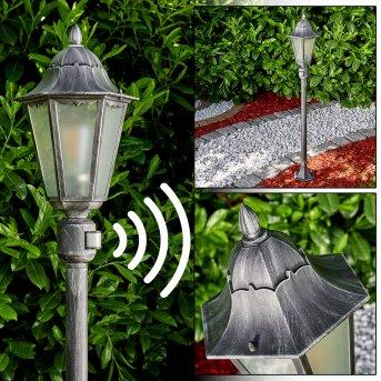 Lignac Zewnętrzna Lampa Stojąca Czarny, Srebrny, 1-punktowy, Czujnik ruchu