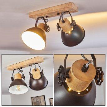 Lampa Sufitowa Orny Antracytowy, Jasne drewno, 2-punktowe