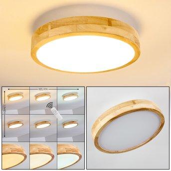Bagaha Lampa Sufitowa LED Jasne drewno, 1-punktowy, Zdalne sterowanie