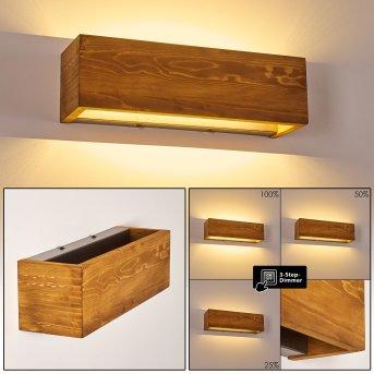 Adak Lampa ścienna LED Ciemne drewno, 1-punktowy