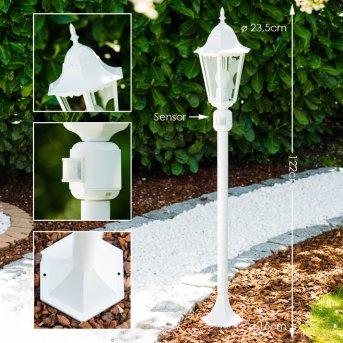 Bristol zewnętrzna lampa stojąca Biały, 1-punktowy, Czujnik ruchu