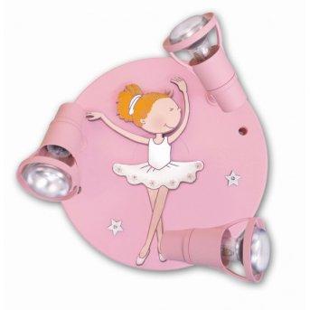Waldi Ballerina lampa owalna z reflektorkami Różowy, 3-punktowe
