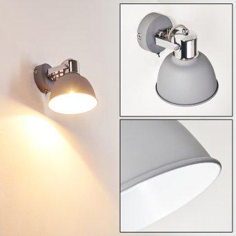 Dompierre Lampa ścienna Siwy, Biały, 1-punktowy