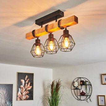 Barbengo Lampa Sufitowa Czarny, Jasne drewno, 3-punktowe
