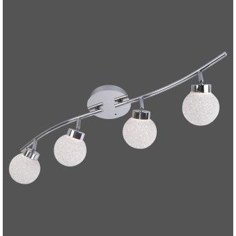 Leuchten Direkt MIKO Lampa Sufitowa LED Chrom, 4-punktowe, Zdalne sterowanie, Zmieniacz kolorów