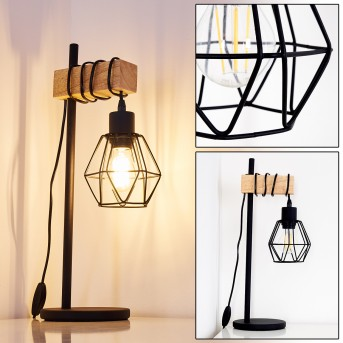 Barbengo Lampa stołowa Czarny, Jasne drewno, 1-punktowy