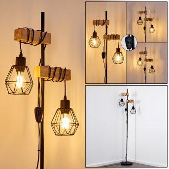 Barbengo Lampa Stojąca Czarny, Jasne drewno, 2-punktowe