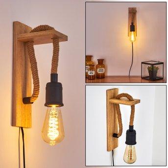 Sunnyvale Lampa ścienna Czarny, Brązowy, Jasne drewno, 1-punktowy