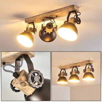 Lampa Sufitowa Orny Antracytowy, Jasne drewno, 3-punktowe