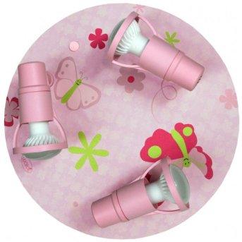 Waldi Papillon lampa sufitowa Różowy, 3-punktowe